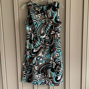 Teal, Brown, & Black Patterned Connected Apparel Dress size 8